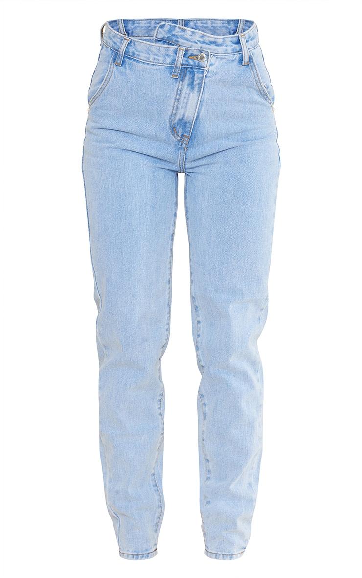 Light Blue Wash Asymmetric Waistband Long Straight Leg Jeans 5