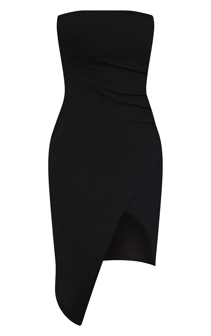Patsy Black Bandeau Wrap Front Crepe Midi Dress 3