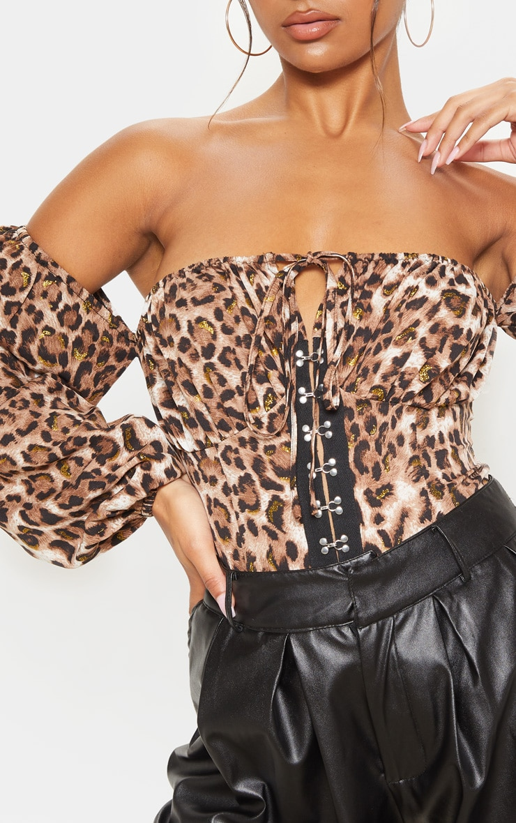 Tan Glitter Leopard Printed Hook & Eye Bardot Long Sleeve Bodysuit 6