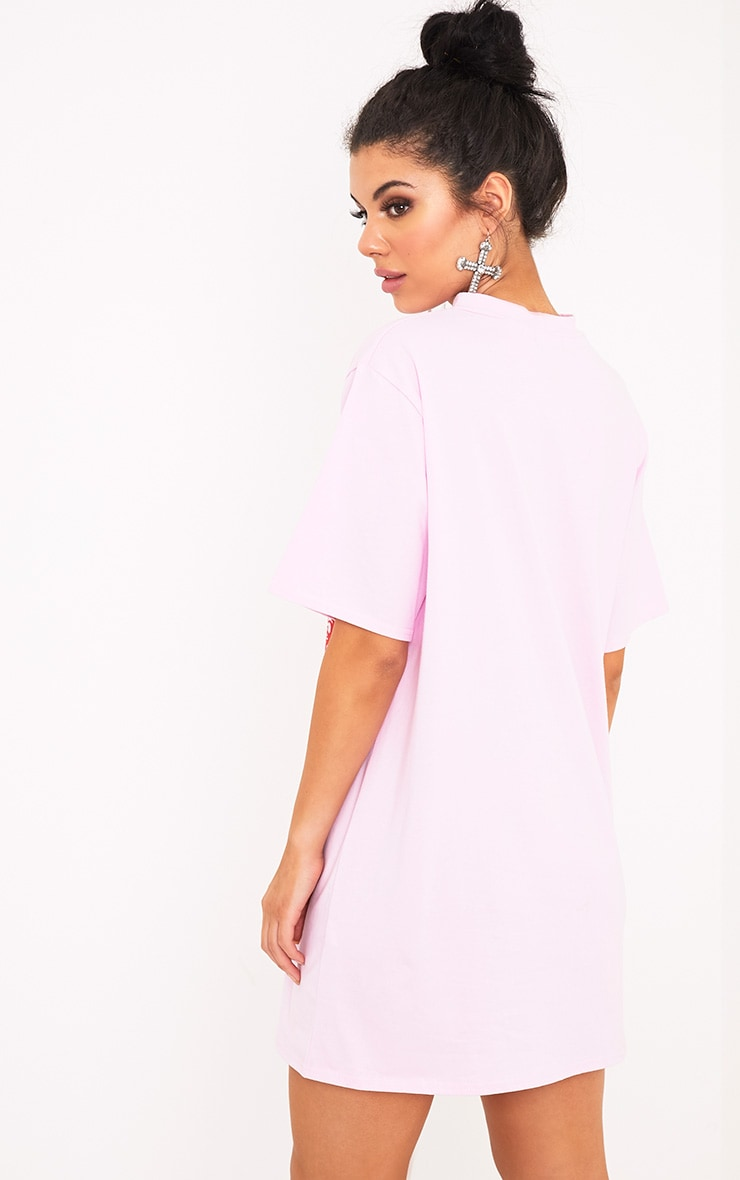 Embroidered Dragon Slogan Baby Pink Extreme Plunge T Shirt Dress 2