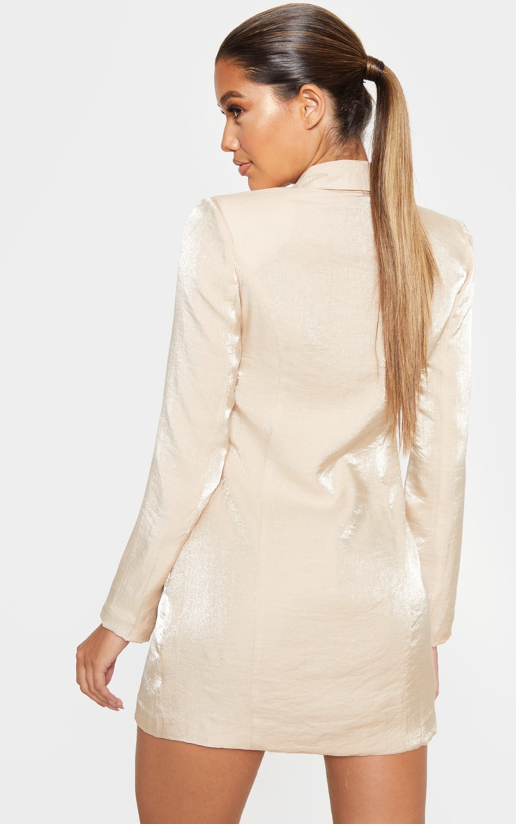 Champagne Pleated Shimmer Gold Button Blazer Dress 2
