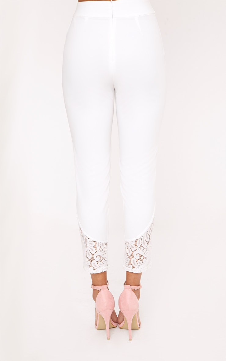 Mikaylah White Lace Insert Suit Trousers 3