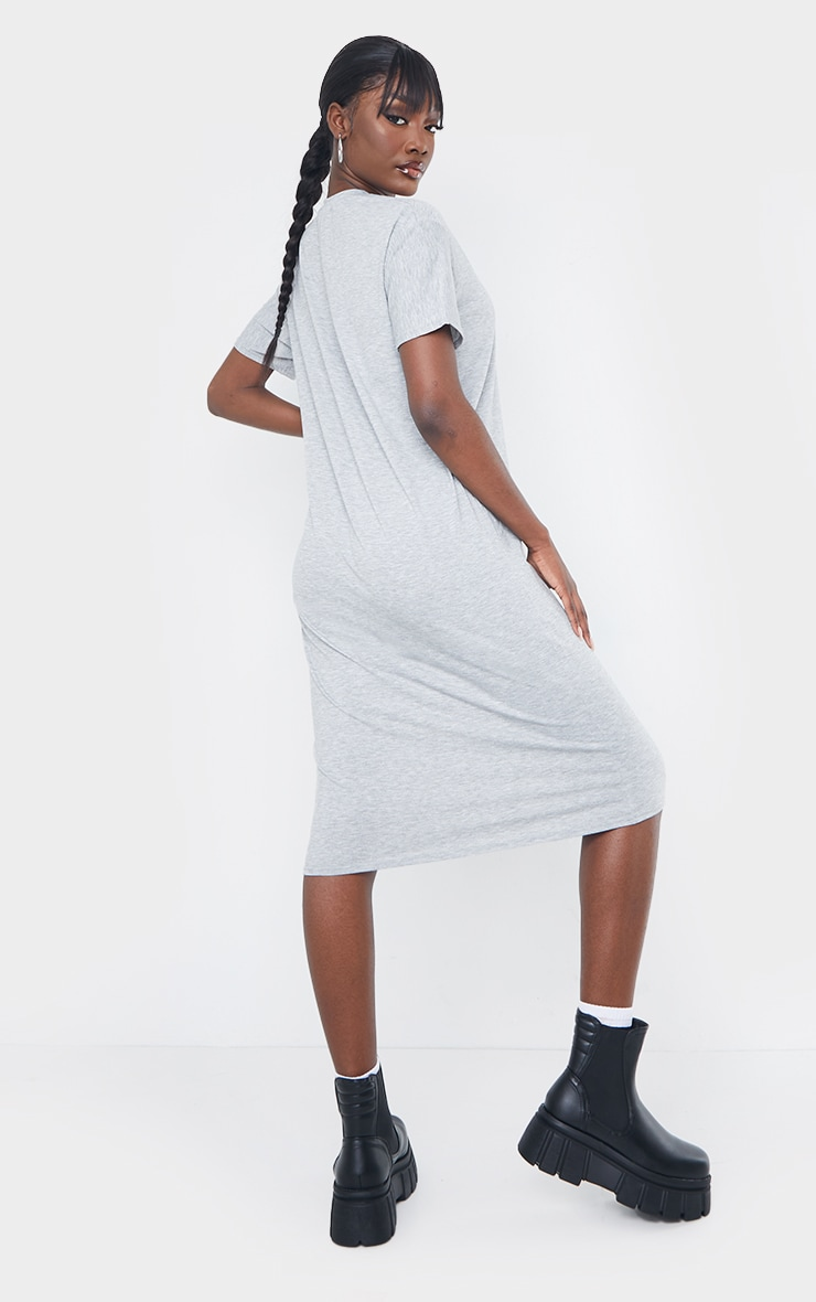 Tall Grey Marl Oversized Boxy Midi T Shirt Dress 2