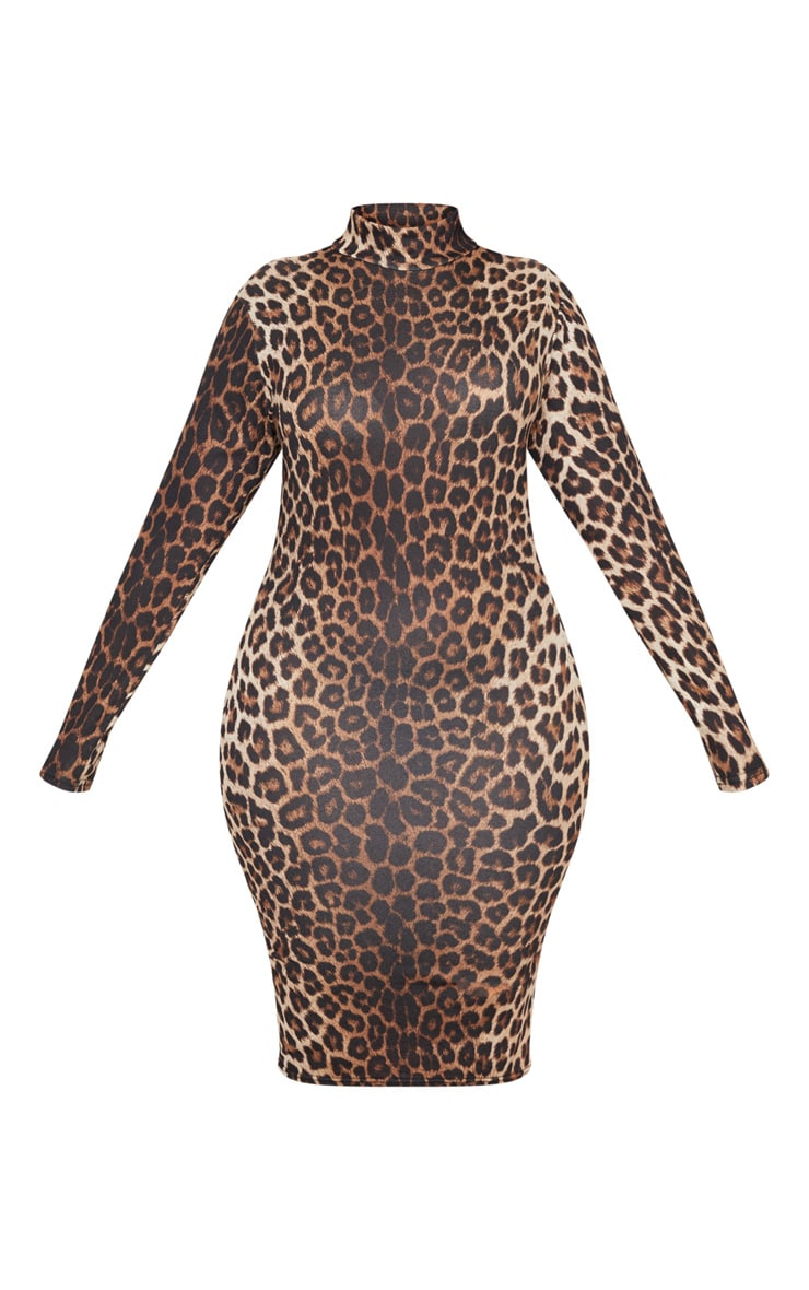 Plus Tan Leopard Print High Neck Midi Dress 3