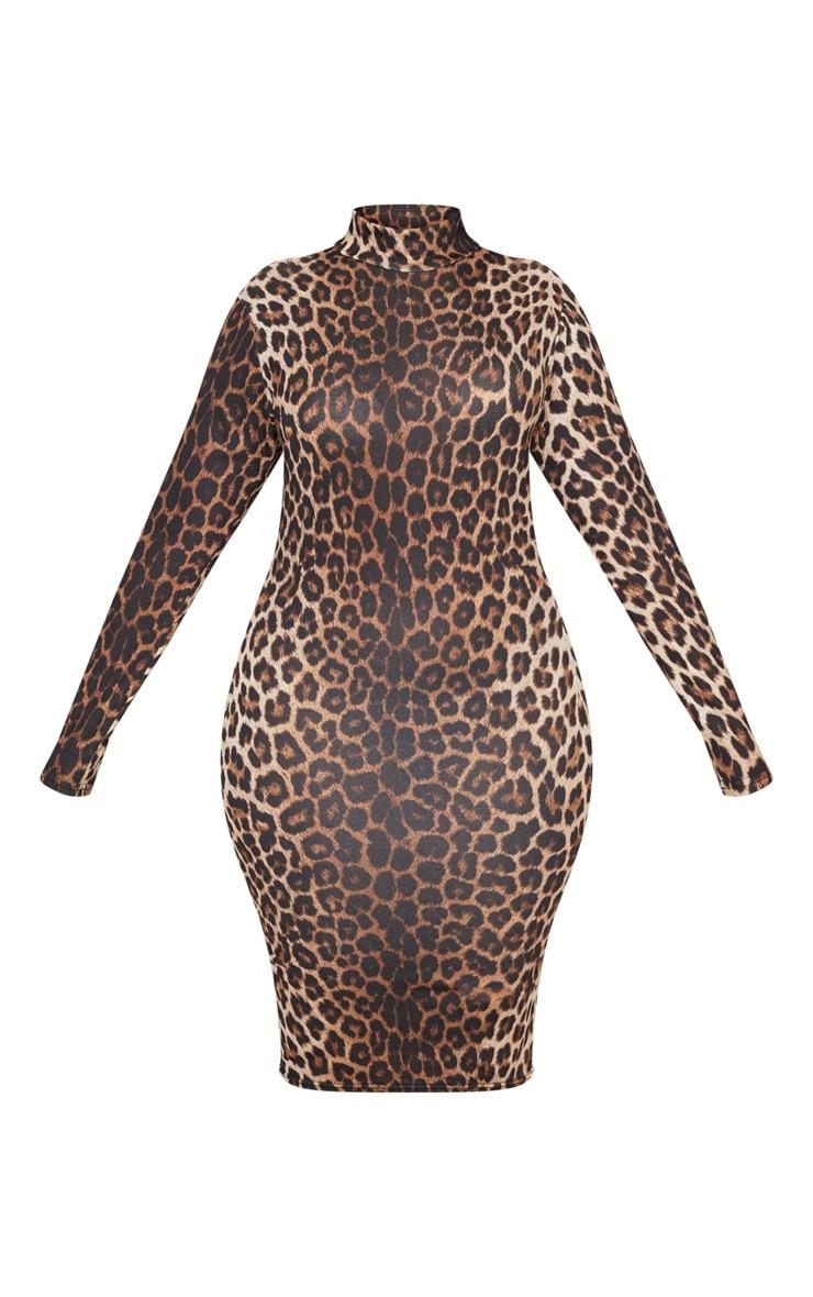 Plus Tan Leopard Print High Neck Midi Dress 3