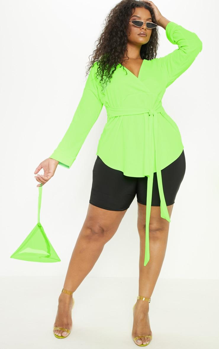 Plus Neon Lime Tie Waist Blouse 4