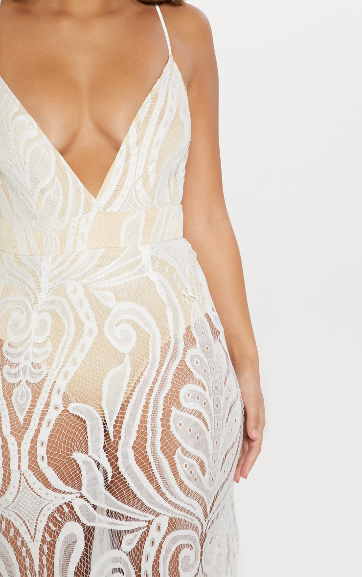 White Lace Strappy Plunge Maxi Dress 4