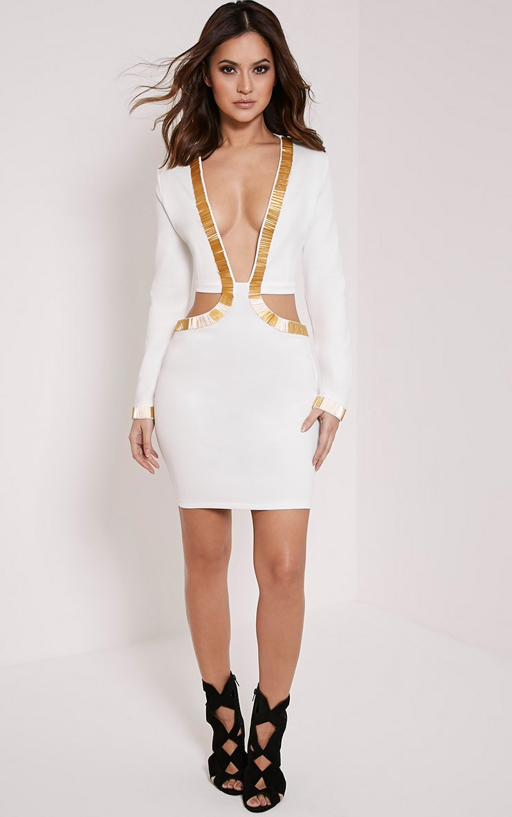 Adella White Beaded Plunge Cut Out Dress 4
