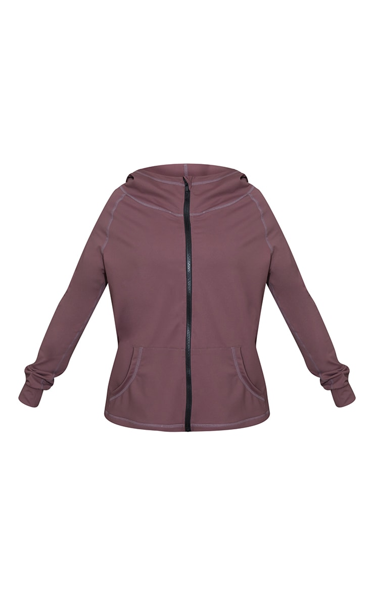 Brown Zip Through Hooded Gym Top 5