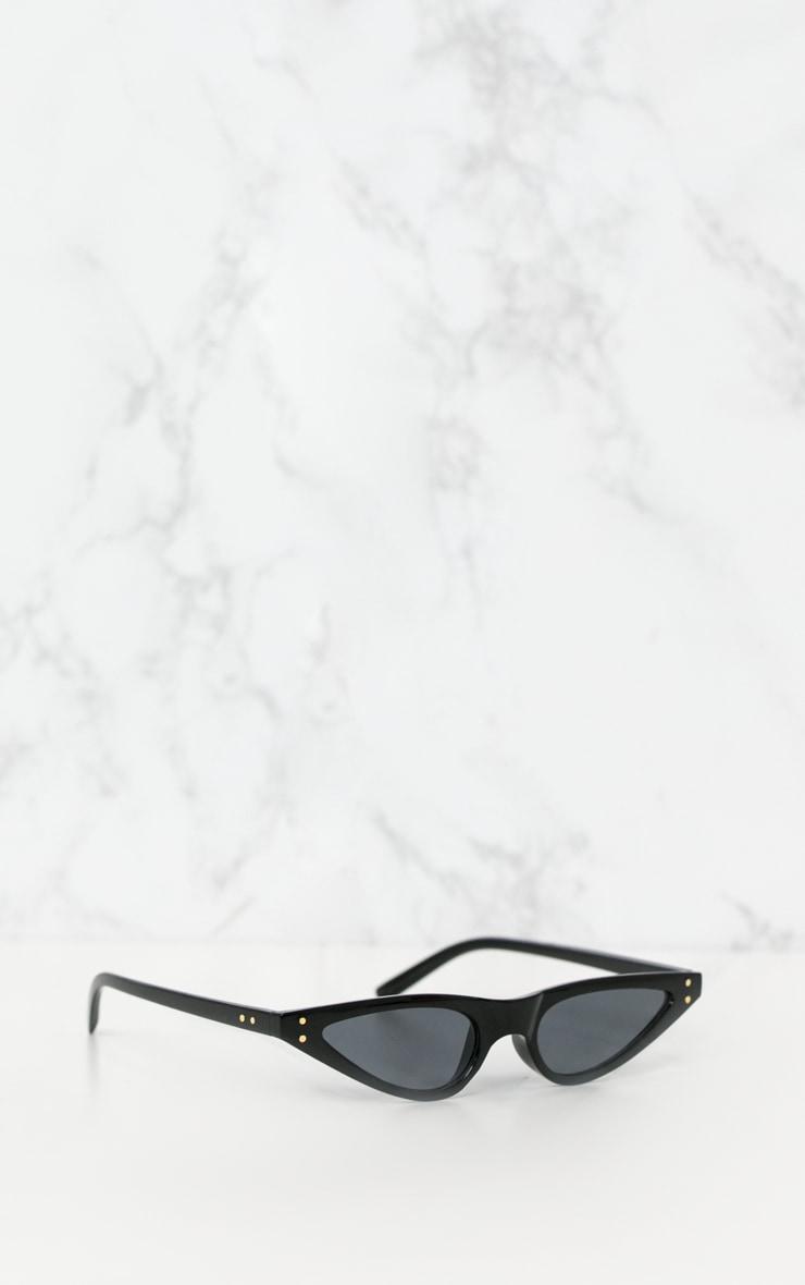 Black Small Cat Eye Skinny Sunglasses 3