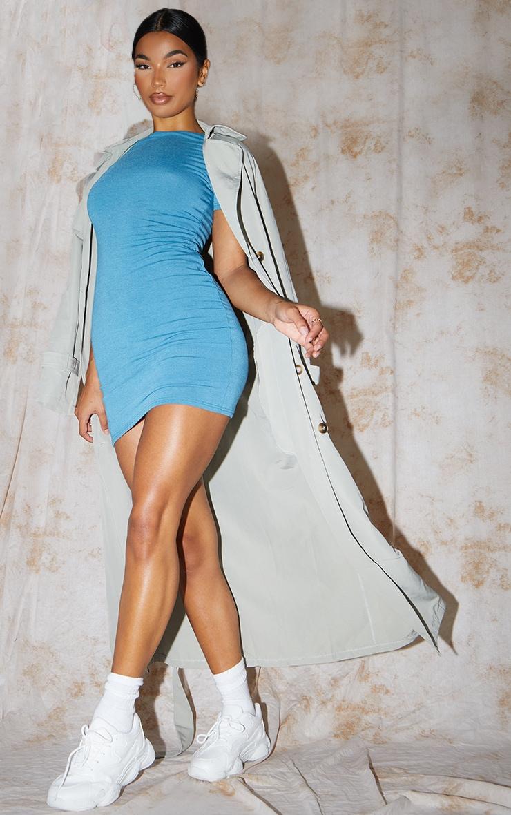 PLT Recycle - Robe moulante en jersey bleu à manches courtes 1