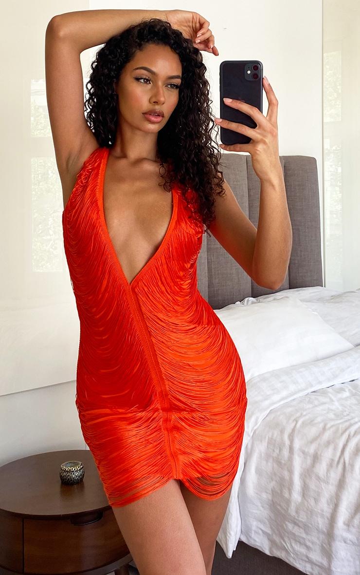 Hot Orange Extreme Plunge Tassel Bodycon Dress 1