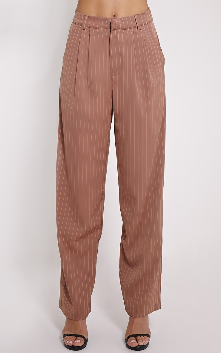 Adalyn Camel Pinstripe Wide Leg Trousers 2