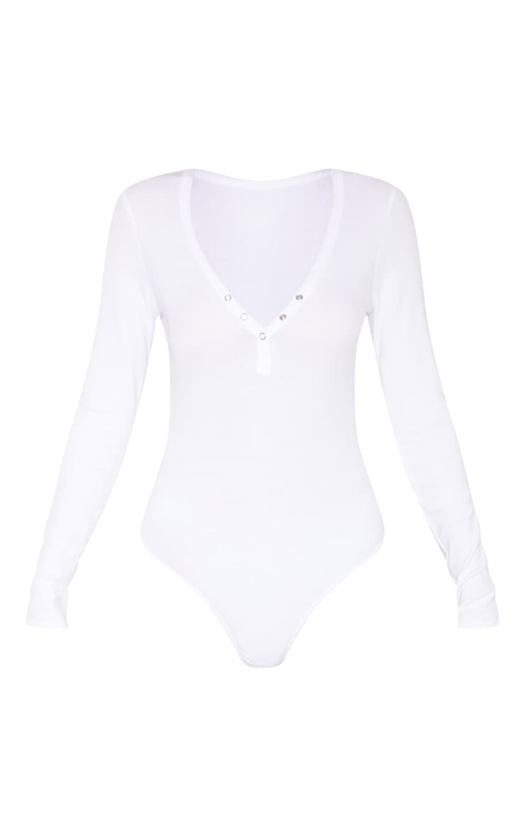 Tall White Long Sleeve Popper Detail Thong Bodysuit 3
