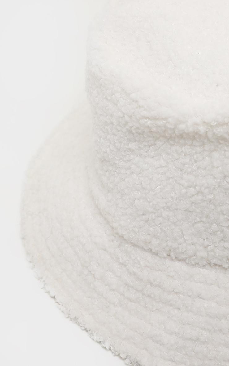 Cream Borg Faux Fur Reversible Bucket Hat 5