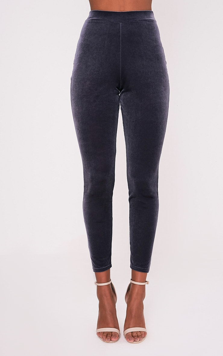 Sage Grey Velvet Cigarette Trousers 2