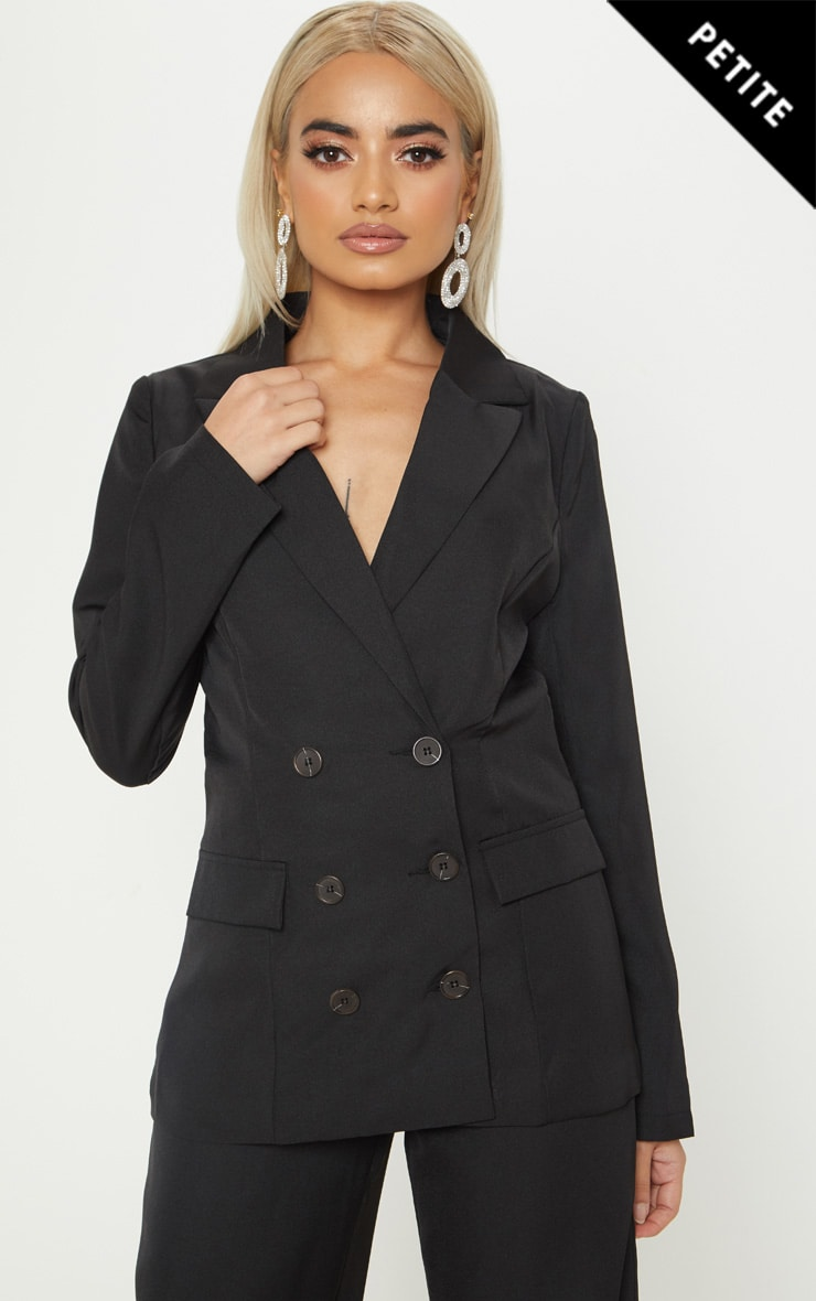 Petite Black Oversized  Button Detail Blazer 1
