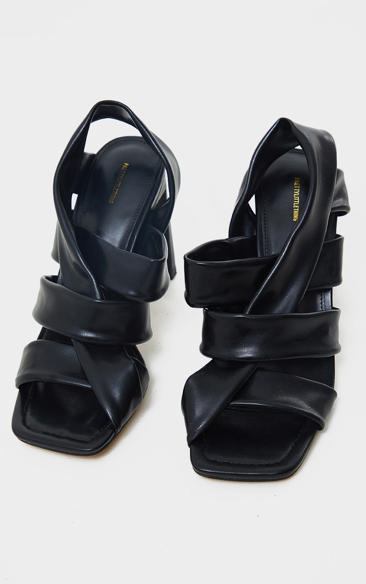 Black PU Square Toe Quilted Weave Flat Heeled Sandals 3