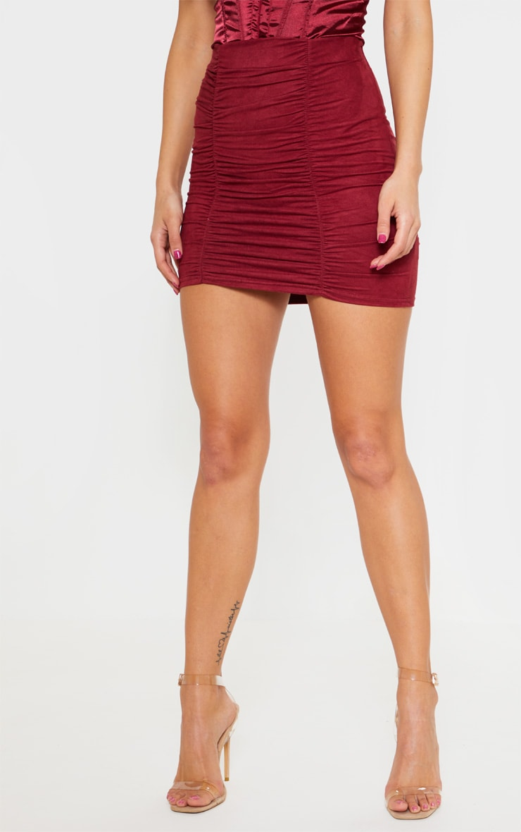 Maroon Faux Suede Ruched Mini Skirt  2