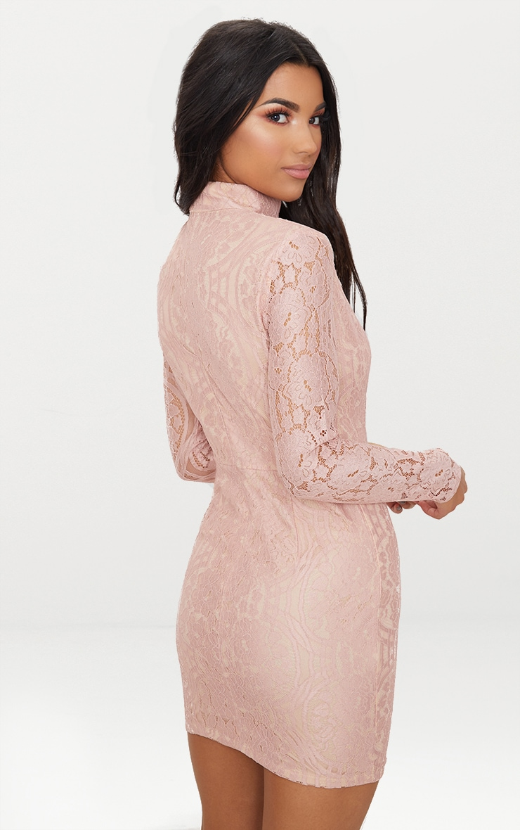 Dusty Pink High Neck Long Sleeve Lace Bodycon Dress  2