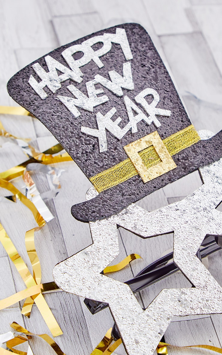 Silver HAPPY NEW YEAR Star Novelty Glasses 3