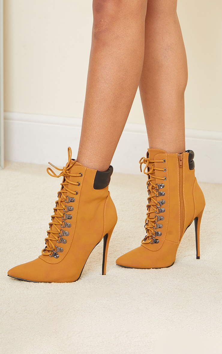 Tan Hiker Lace Up Stiletto Heels Boot 2