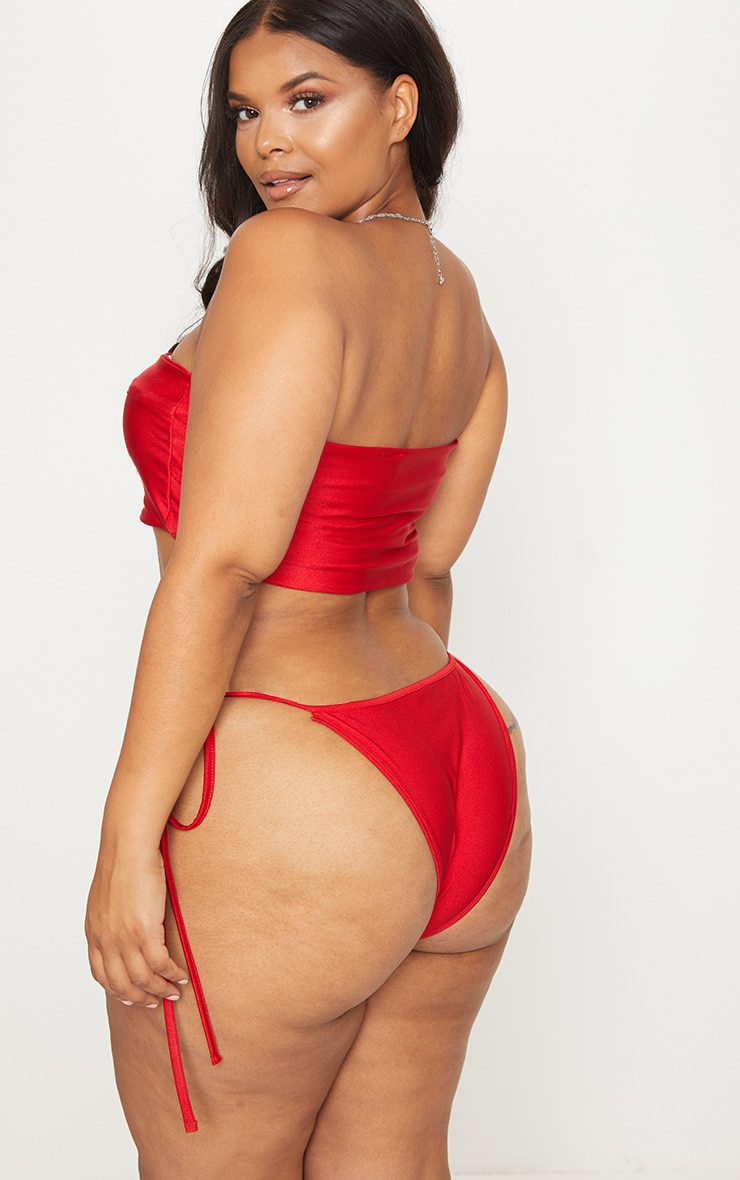 Plus Red Bandeau Bikini Set 2
