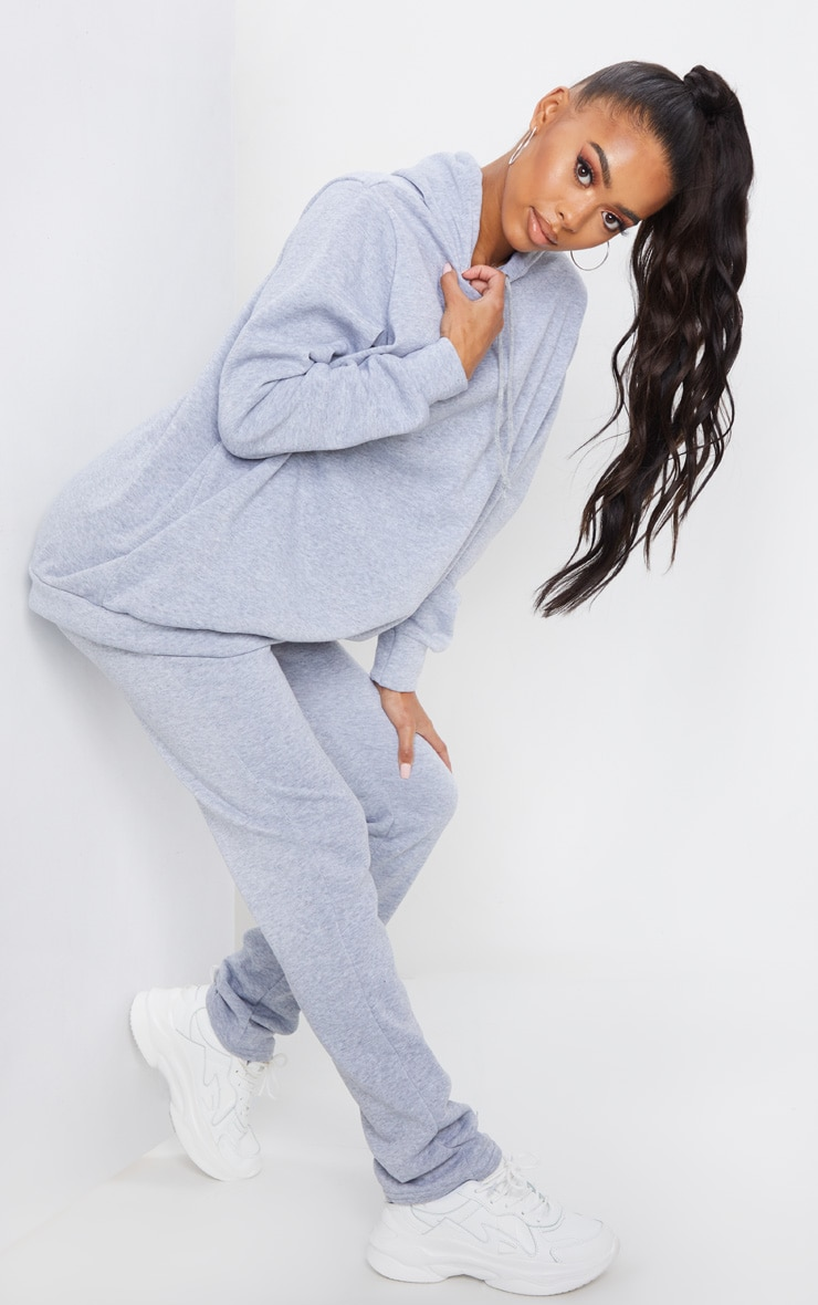 Grey Oversized Sweat Hoodie & Straight Leg Jogger Set 3