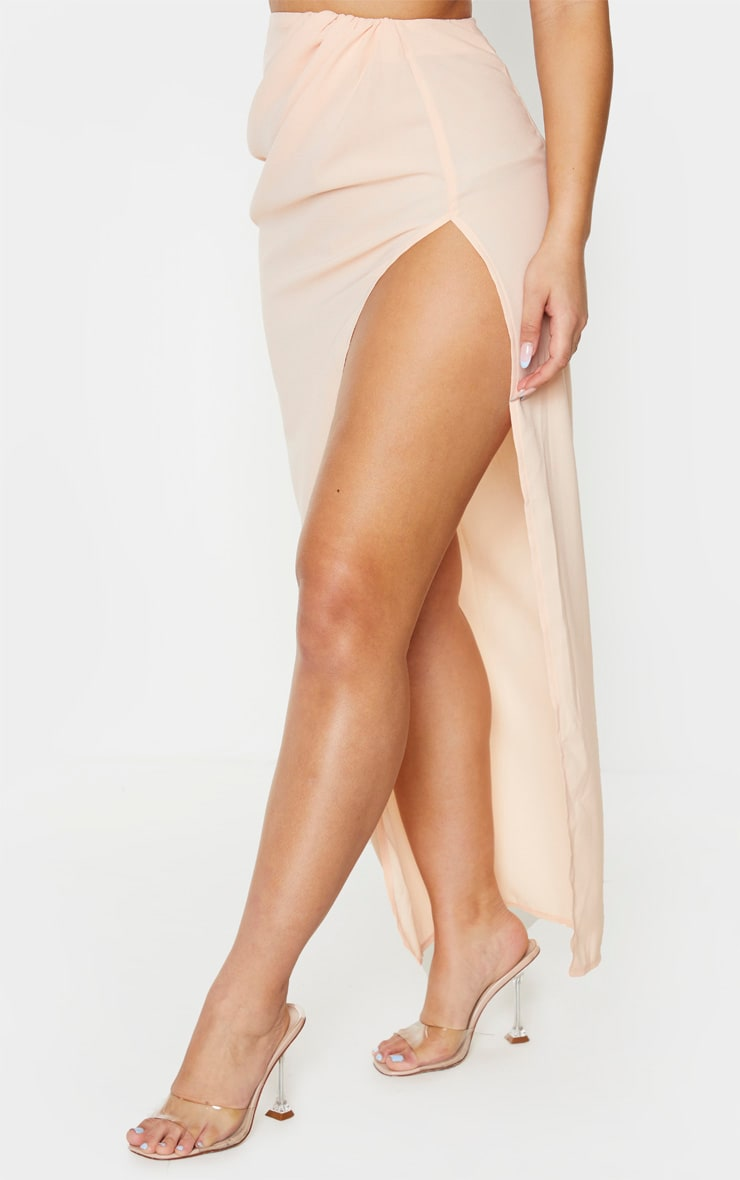 Nude Woven Ruched Side Split Maxi Skirt 2