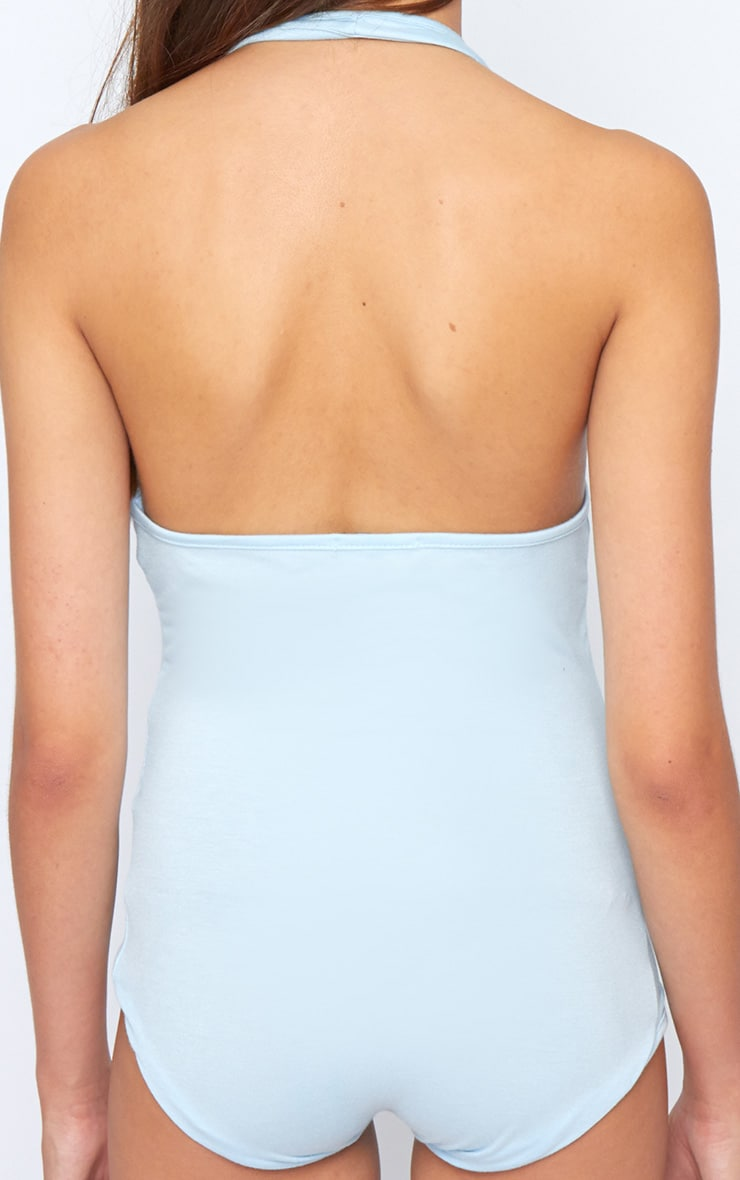 Sara Blue Halterneck Bodysuit 2