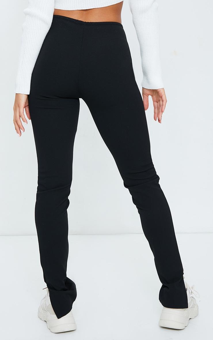 Petite Black Crepe Ruched Waist Line Split Hem Pants 3
