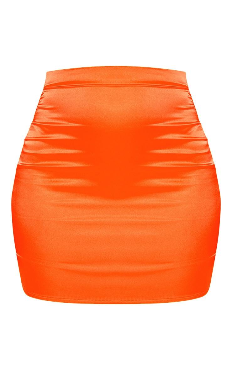 Neon Orange Satin High Waisted Mini Skirt 3