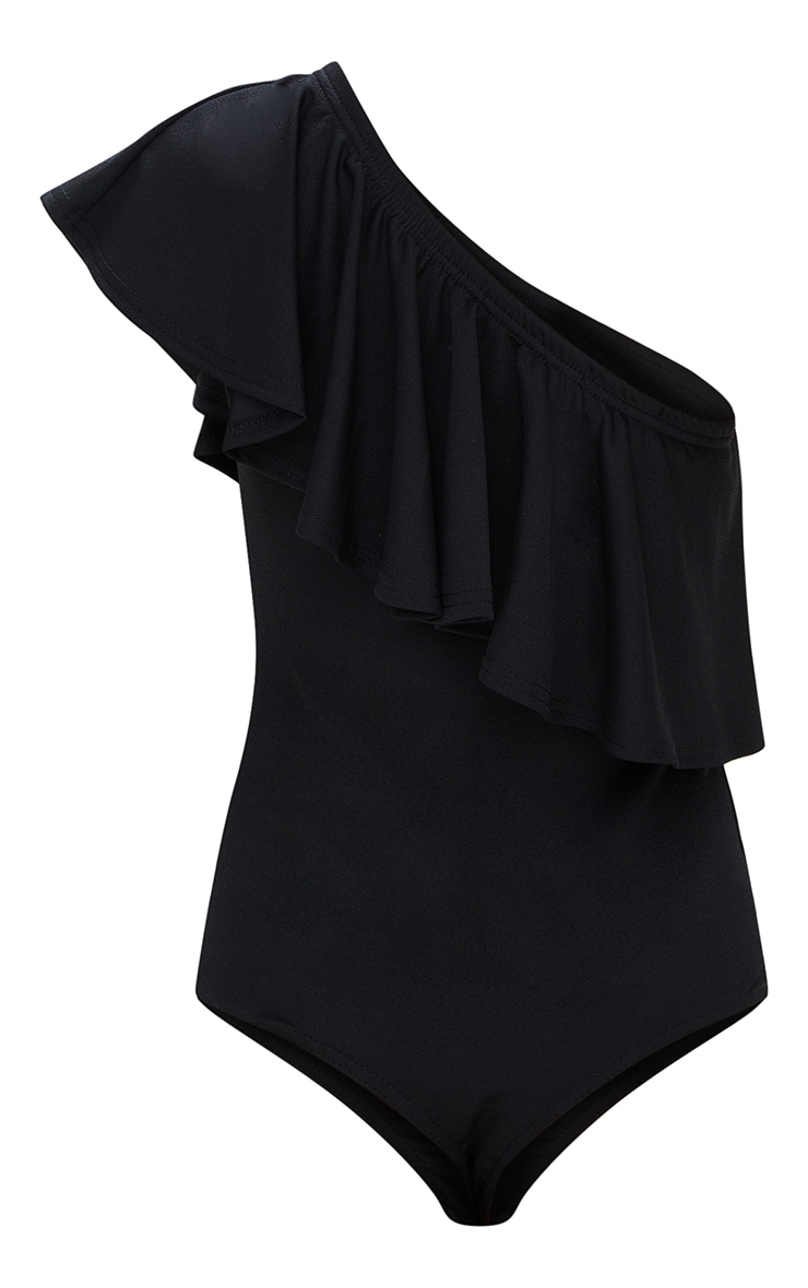 Petite Black One Shoulder Frill Bodysuit 4