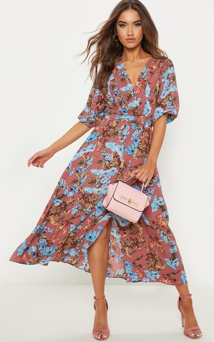 Mauve Floral Short Sleeve Skater Midi Dress image 1 4eab834fcecfc