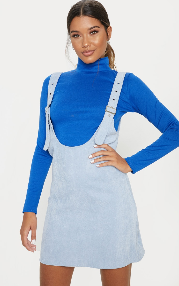 Dusty Blue Corduroy Buckle Front Skater Pinafore Dress 1