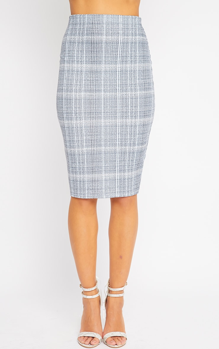 Cleo Blue Checked Midi Skirt 5