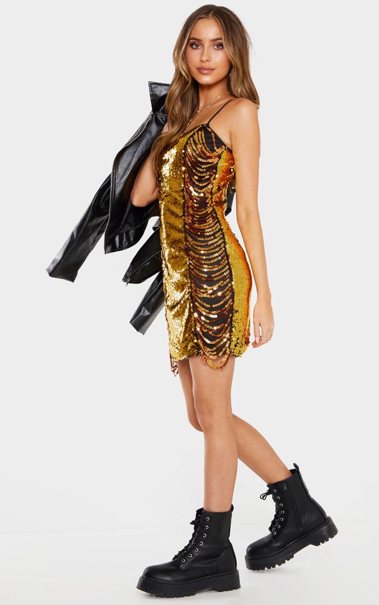 Gold Sequin Drape Bodycon Dress 4