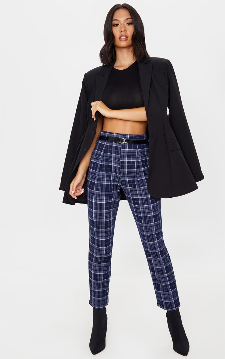 Navy Check Belted Skinny Pants 5