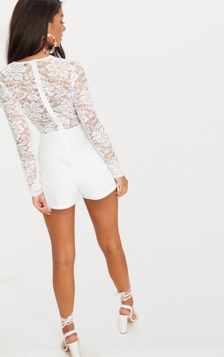 White Lace Long Sleeve Plunge Playsuit 2