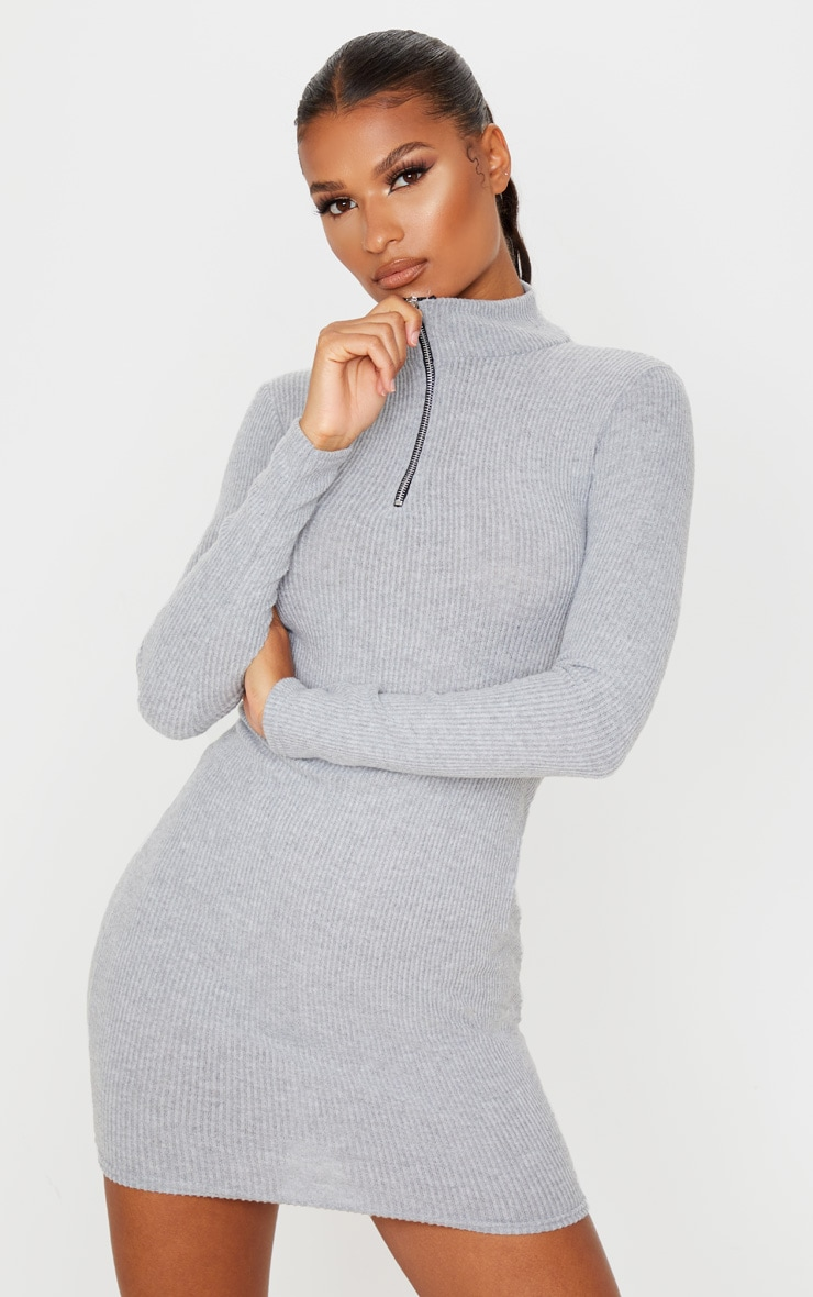 Grey Brushed Rib Long Sleeve Zip Front Bodycon Dress 1
