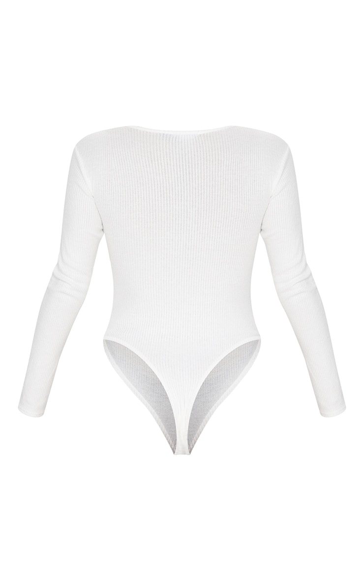 White Brushed Rib Button Long Sleeve Bodysuit 6