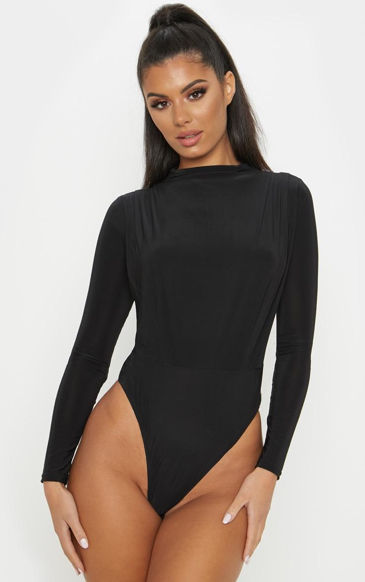 Black High Neck Ruched Slinky Bodysuit 2