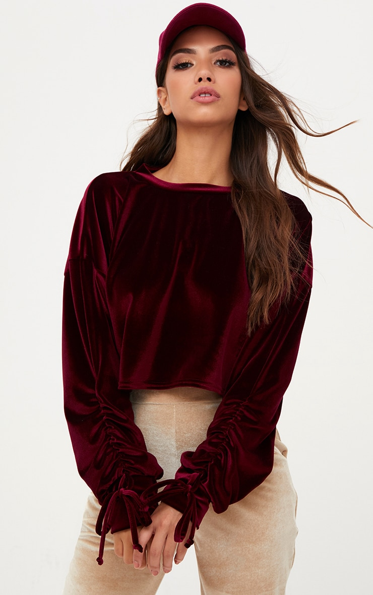 Maroon Velvet Ruched Sleeve Crop Sweater  1