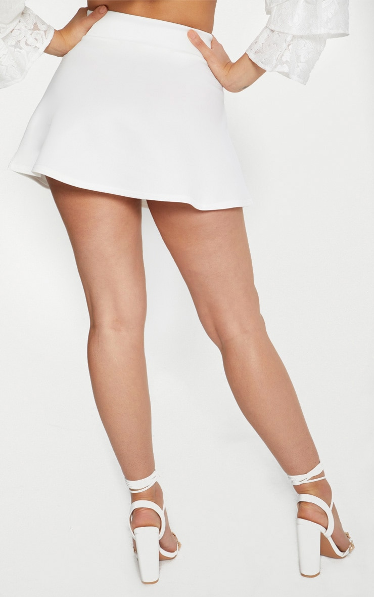 White Scuba Flippy Mini Skirt 4
