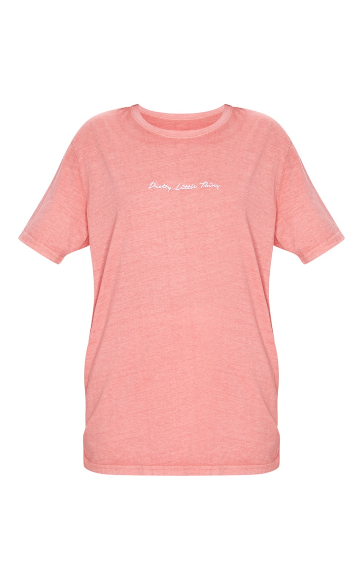 PRETTYLITTLETHING Red Embroidered Wash T Shirt 5