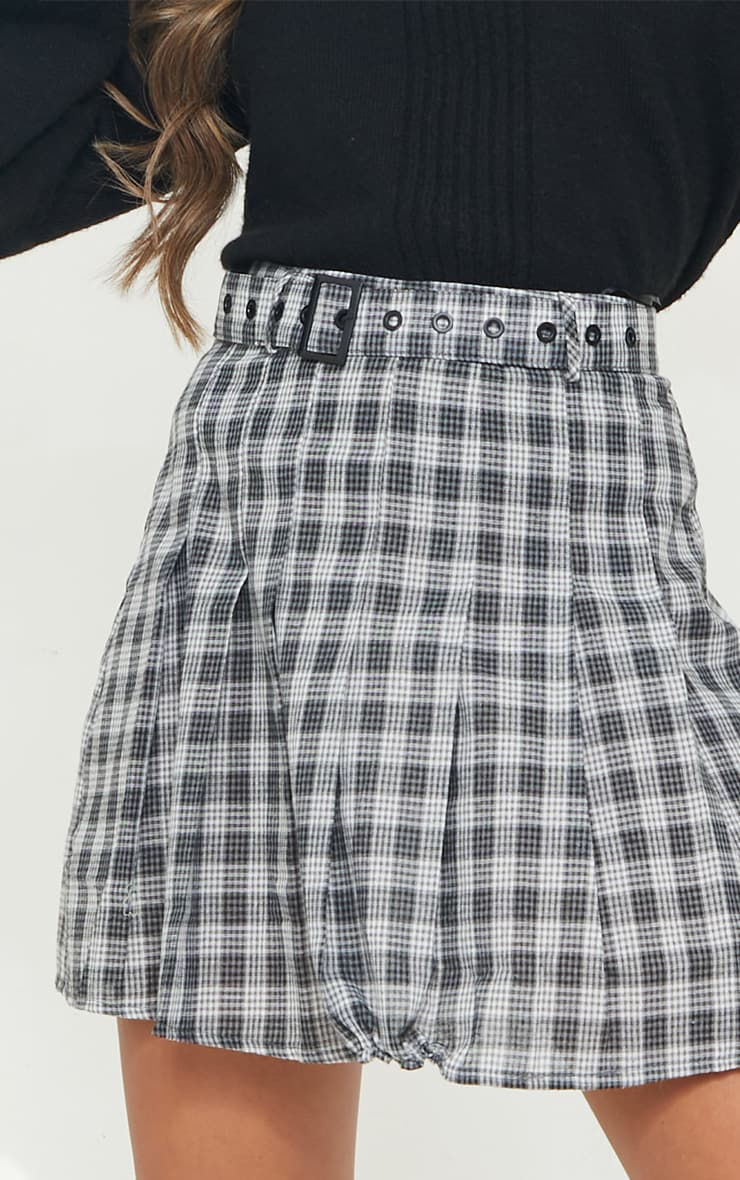 Black Woven Check Belted Skater Skirt 4