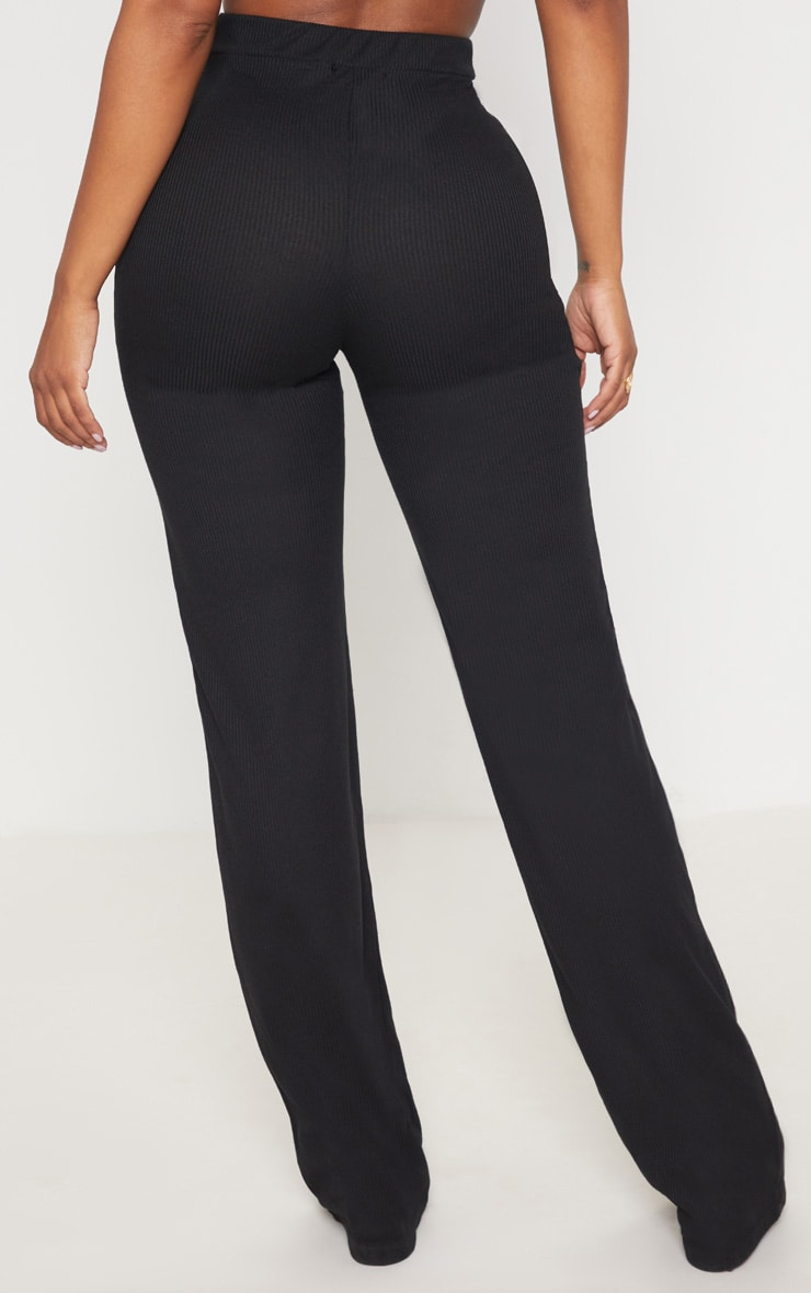 Shape Black Ribbed Wide Leg Trousers 4