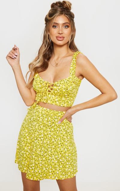 c5c7ff4d340e8 Yellow Ditsy Floral Print Skater Skirt