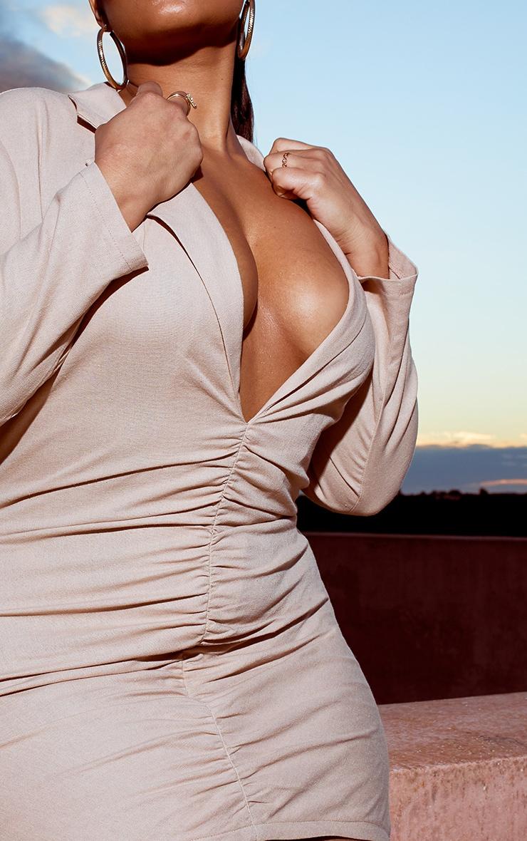Plus Stone Plunge Ruched Front Blazer Dress 4