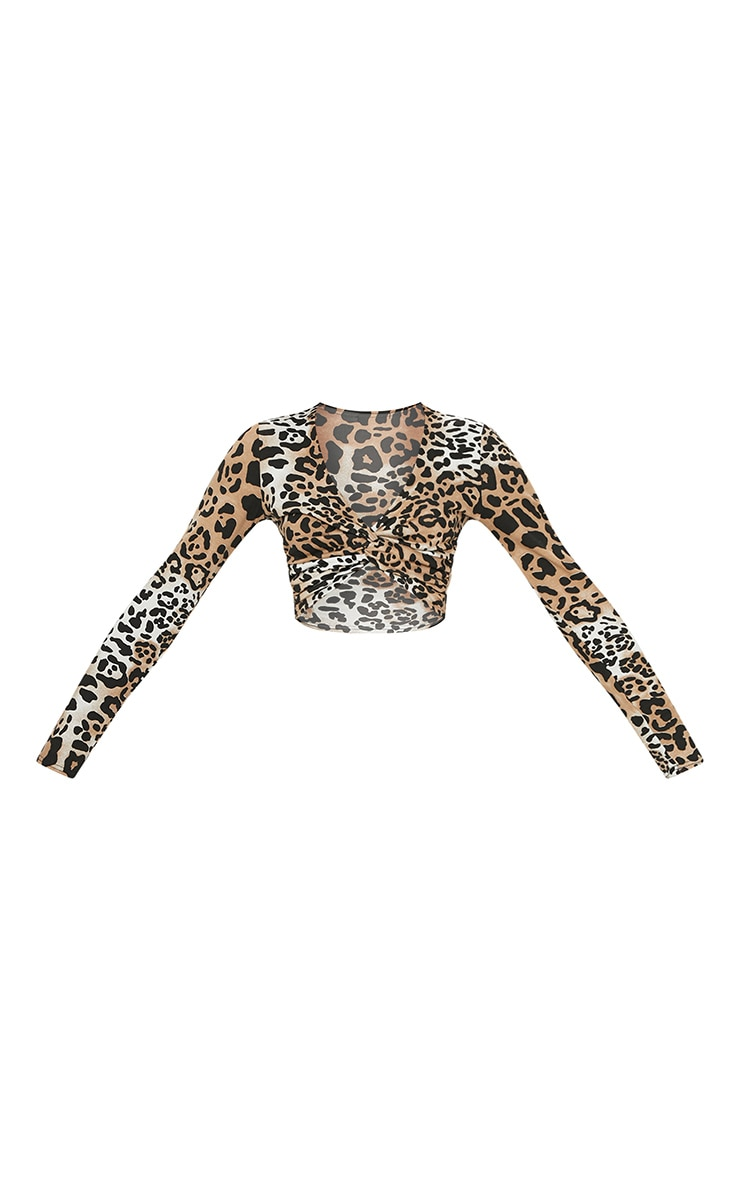 Brown Leopard Printed Twist Front Long Sleeve Crop Top 3